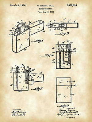 Flame Light Digital Art - Pocket Lighter Patent 1934 - Vintage by Stephen Younts