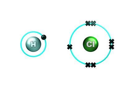 Atom Photograph - Polar Bond In Hydrogen Chloride Molecule by Animate4.com/science Photo Libary