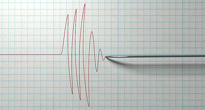 Test Digital Art - Polygraph Needle And Drawing by Allan Swart