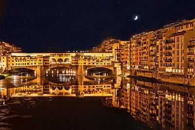 Ponte Vecchio Nightscape Print by Susan  Schmitz