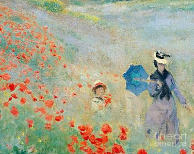 Parasol Painting - Poppies At Argenteuil by Claude Monet