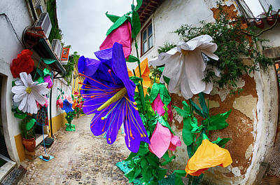 Religious Festival Photograph - Portugal, Streets Of Tomar Decorated by Terry Eggers