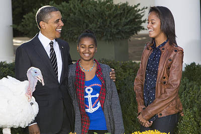 President Obama And Daughters Print by JP Tripp