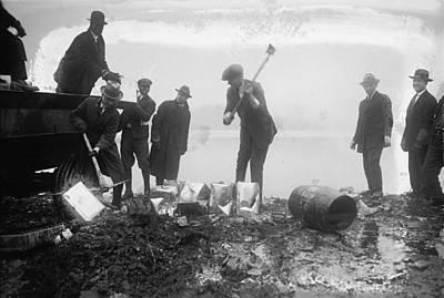 Prohibition Feds Destroy Liquor  1923 Print by Daniel Hagerman