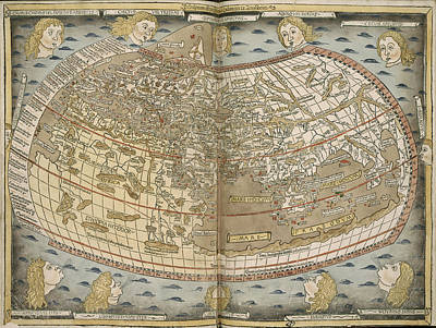 Lithographs Photograph - Ptolemy's World Map by British Library