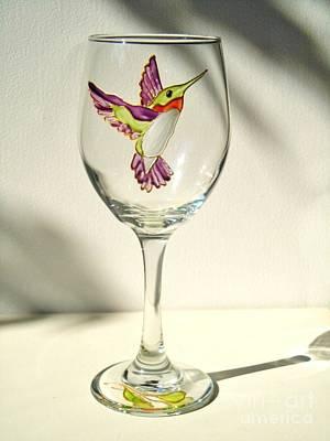 Hand Painted Glasses Glass Art - Purple Hummingbird by Pauline Ross