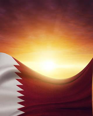 Qatar Photograph - Qatar Flag by Les Cunliffe