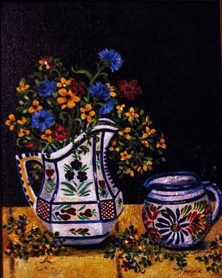 Pitcher With Flowers Painting - Quimper Still Life by Mimi Saint DAgneaux