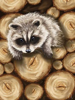 Childrens Portraits Painting - Raccoon by Veronica Minozzi