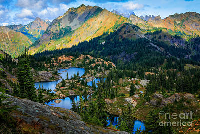 Rampart Lakes Print by Inge Johnsson