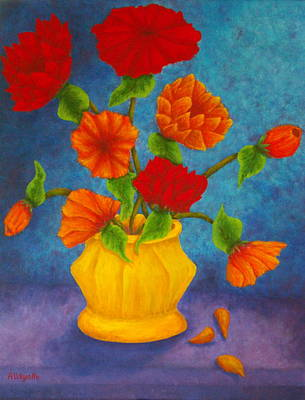 Flower Still Life Mixed Media - Red And Orange Flowers by Pamela Allegretto