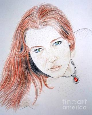 Freckles Drawing - Red Hair And Freckled Beauty by Jim Fitzpatrick