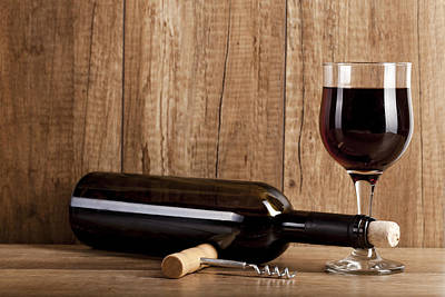 Red Wine On Wooden Background Still Life Image Original by Daniel Barbalata