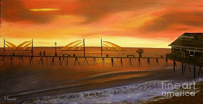 Redondo Beach Pier At Sunset Print by Bev Conover