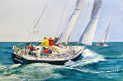 Beetle Cat Painting - Regatta Bound by Karol Wyckoff