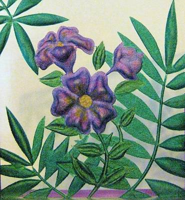 Reverse Painted Carved Florals On Glass Print by Judy Via-Wolff