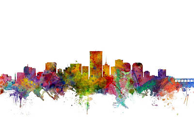 Silhouette Digital Art - Richmond Virginia Skyline by Michael Tompsett