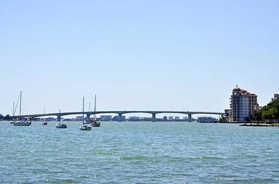 Ringling Bridge Afternoon Sarasota Florida Print by Sally Rockefeller