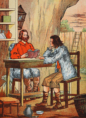 Literature Painting - Robinson Crusoe And Friday by English School