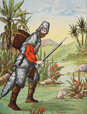 Desert Drawing - Robinson Crusoe by English School
