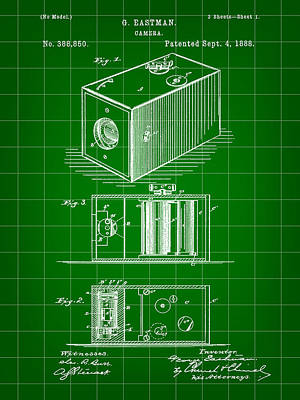 Cartridge Digital Art - Roll Film Camera Patent 1888 - Green by Stephen Younts