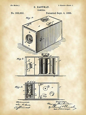 Cartridge Digital Art - Roll Film Camera Patent 1888 - Vintage by Stephen Younts