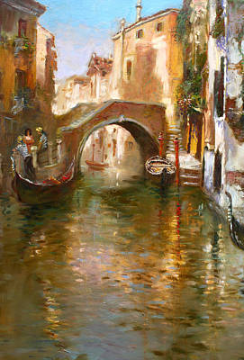 Canal Painting - Romance In Venice  by Ylli Haruni