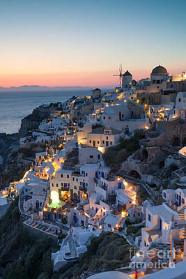 Romantic Sunset Over The Village Of Oia Greece Santorini Print by Matteo Colombo