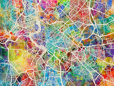 Map Of Italy Digital Art - Rome Italy Street Map by Michael Tompsett