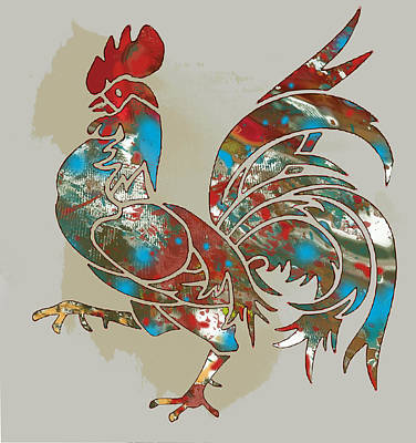 Rooster Stylised Pop Art Drawing Portrait Poster Print by Kim Wang