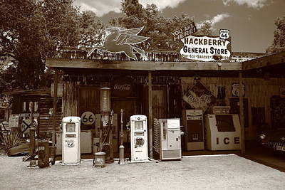 Route 66 - Hackberry General Store Print by Frank Romeo