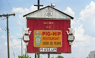 Route 66 - Pig-hip Restaurant Print by Frank Romeo