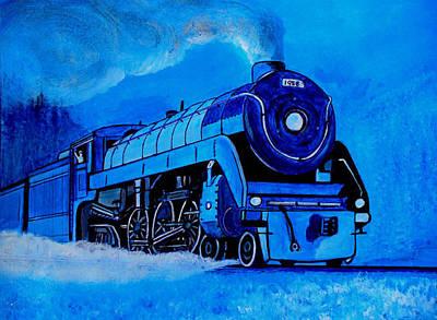 Train Tracks Painting - Royal Blue Express by Pjohn Artman