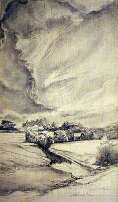 Cloudy Day Drawing - Rural Landscape by Mikhail Savchenko
