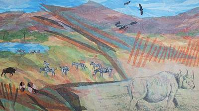 Dyptich Painting - Safari Scrapbook Left Panel by Scott Kingery