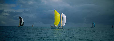 West Marine Photograph - Sailboat Racing In The Ocean, Key West by Panoramic Images