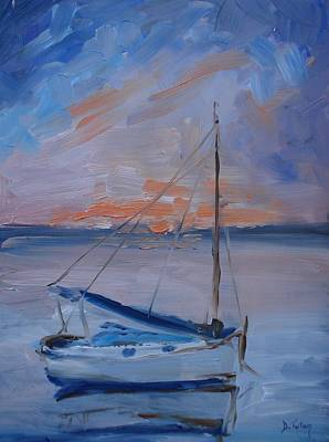 Waterscape Painting - Sailboat Reflections II by Donna Tuten