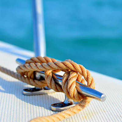 At Sea Photograph - Sailor's Knot Square by Laura Fasulo