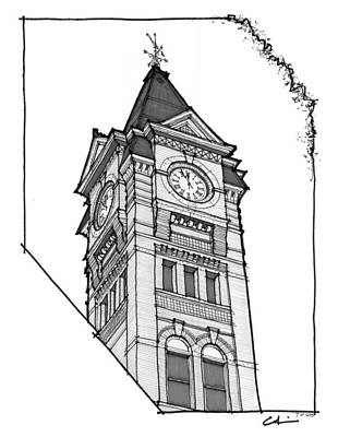 Samford Hall Clock Tower Print by Calvin Durham
