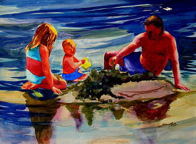 Painting - Sandcastles With Daddy by Julianne Felton