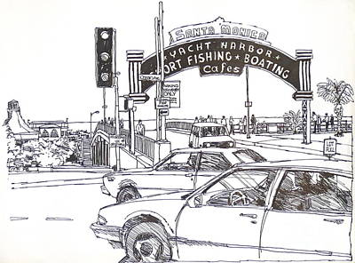Santa Monica Drawing - Santa Monica Pier Entrance by Robert Birkenes