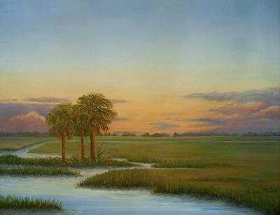 Tree At Sunset Painting - Santee Sunset by Audrey McLeod