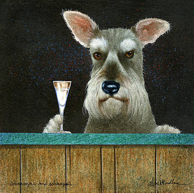 Schnauzers And Schnapps... Print by Will Bullas