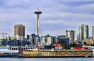 Seattle Waterfront Print by Ron Roberts