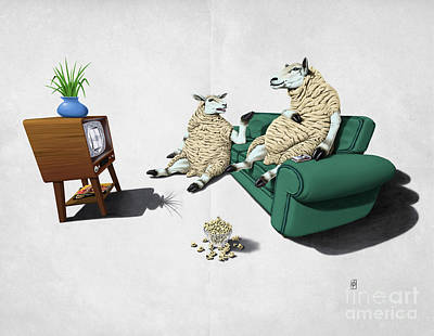 Sheep Wordless Print by Rob Snow