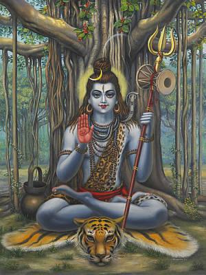 Hibiscus Painting - Shiva by Vrindavan Das