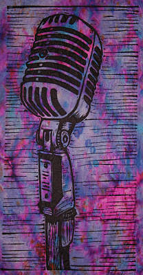 Linoleum Drawing - Shure 55s by William Cauthern