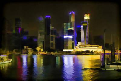 Singapore Skyline As Seen From The Pedestrian Bridge Print by Ashish Agarwal
