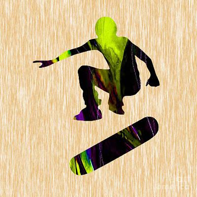 Teen Mixed Media - Skateboarder by Marvin Blaine