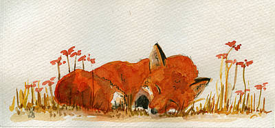 Jb Painting - Sleeping Red Fox by Juan  Bosco